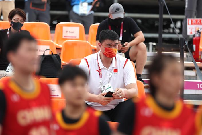 <p>Yao Ming, President of Chinese Basketball Association looks on day three of the Tokyo 2020 Olympic Games at Aomi Urban Sports Park on July 26, 2021 in Tokyo, Japan. (Photo by Christian Petersen/Getty Images)</p>