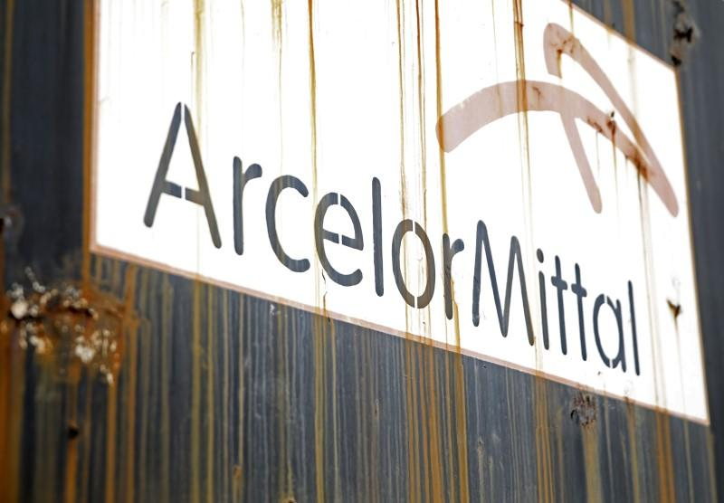 Steel factory ArcelorMittal's logo is seen on an old train in Zenica