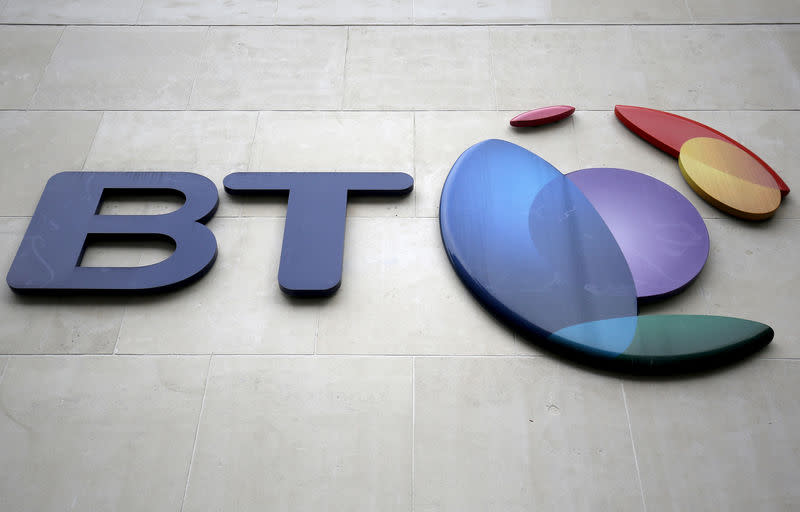 FILE PHOTO: A branded sign is displayed outside of a BT building in London