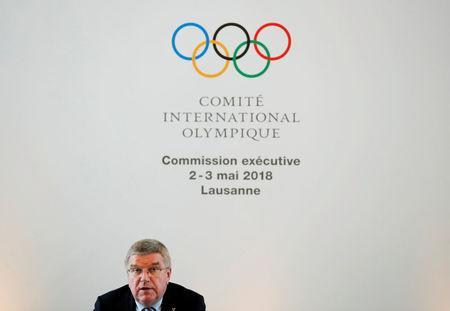 Thomas Bach, President of the International Olympic Committee, attends an Executive Board meeting in Lausanne, Switzerland, May 2, 2017. REUTERS/Denis Balibouse