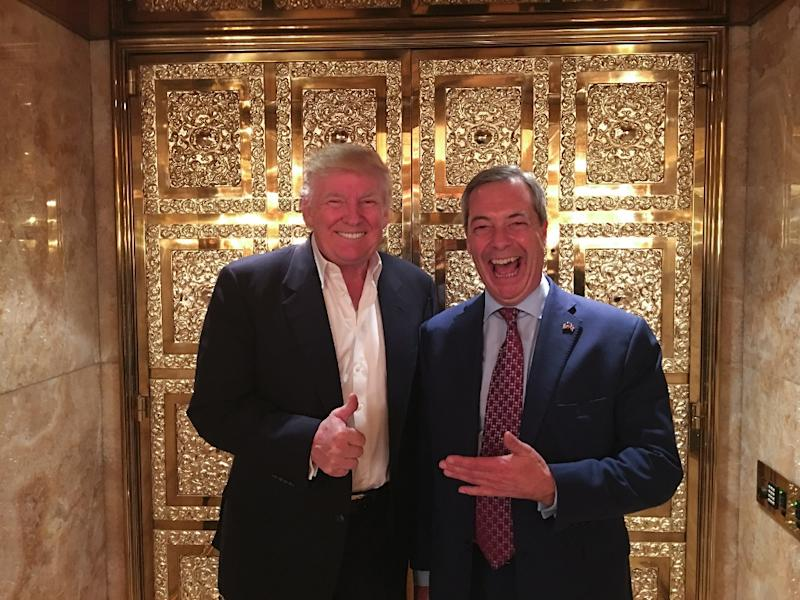 Brexit leader Nigel Farage (R), who has been closely aligned with President Donald Trump, agreed to become a contributor to US-based Fox News on January 20, 2017