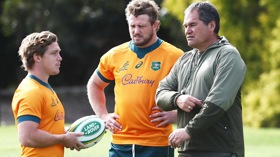 Michael Hooper, James Slipper and Dave Rennie, pictured here at the Wallabies captain's run.