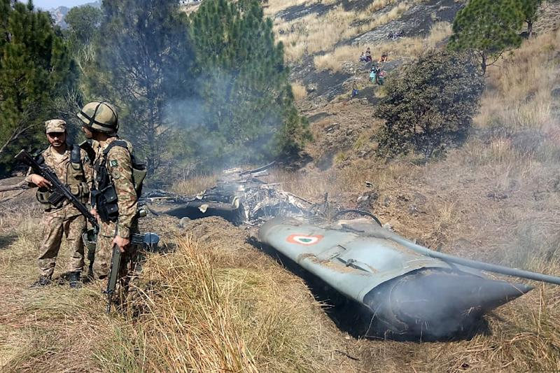 An Indian jet was shot down in Pakistan-controlled Kashmir in February (AFP Photo/STR)