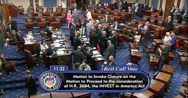 PHOTO: A video still shows the motion to invoke Cloture on the U.S.Senate floor during discussion of bipartisan support for the Infrastructure programs on Capitol Hill, July 28, 2021. (Senate.gov)