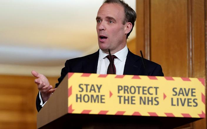 Mr Raab speaking during a remote press conference to update the nation on May 5, 2020 - Pippa Fowles/AFP