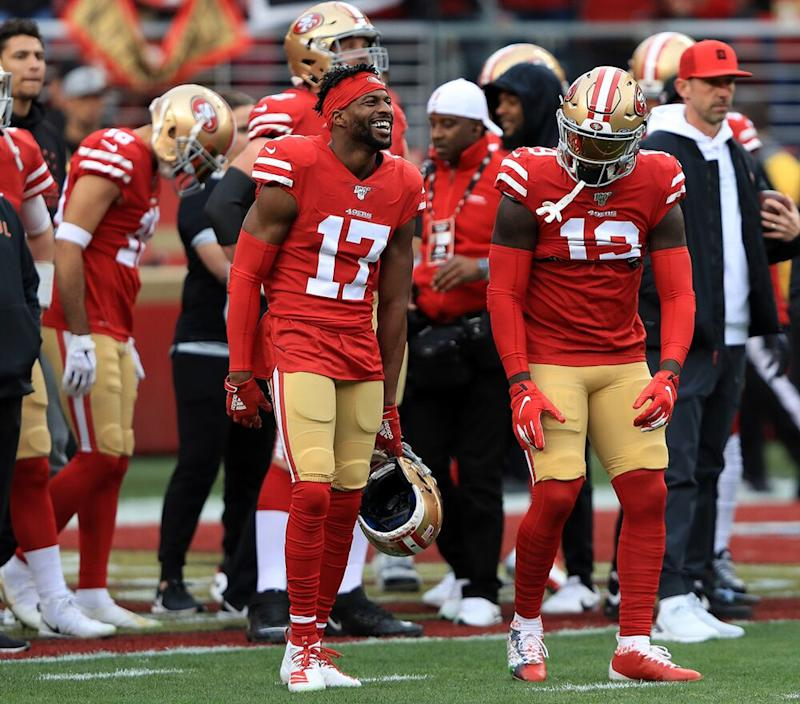 The San Francisco 49ers, who will play in this year's Super Bowl on Feb. 2 | Sean M. Haffey/Getty