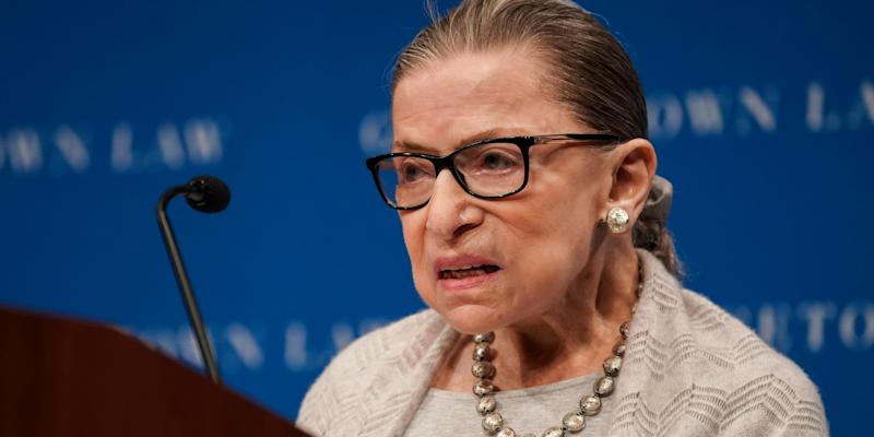 FILE PHOTO: U.S. Supreme Court Justice Ruth Bader Ginsburg delivers remarks during a discussion hosted by the Georgetown University Law Center in Washington, D.C., U.S., September 12, 2019. REUTERS/Sarah Silbiger.