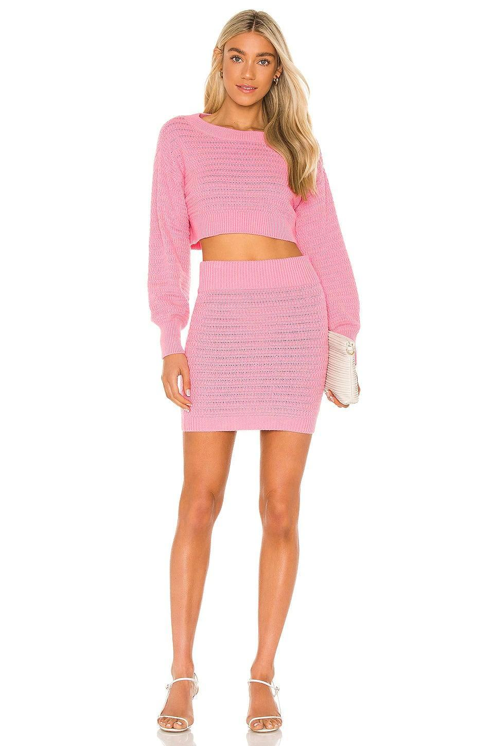 <p>I'm a sucker for a matching set, and the <span>Majorelle Rhea Sweater</span> ($158) and <span>Mini Skirt</span> ($128) are giving me the best kind of Barbie vibes.</p>