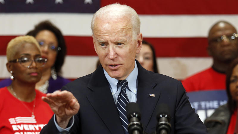 Joe Biden speaks at a campaign event in Columbus, Ohio in March. (Paul Vernon/AP)
