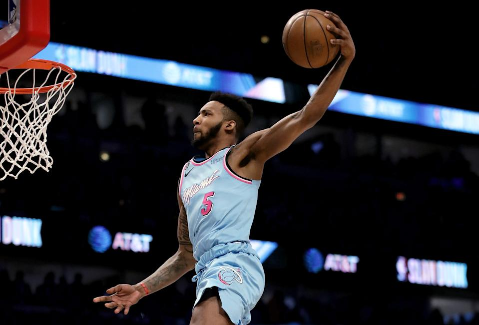 CHICAGO, ILLINOIS - FEBRUARY 15: Derrick Jones Jr. #5 of the Miami Heat dunks the ball in the 2020 NBA All-Star - AT&T Slam Dunk Contest during State Farm All-Star Saturday Night at the United Center on February 15, 2020 in Chicago, Illinois. NOTE TO USER: User expressly acknowledges and agrees that, by downloading and or using this photograph, User is consenting to the terms and conditions of the Getty Images License Agreement. (Photo by Jonathan Daniel/Getty Images)