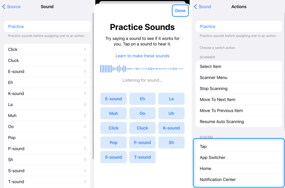 Images of the process of adding an audio switch to the iPhone.