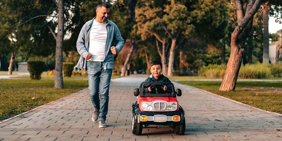 """<p>Growing up there was nothing I wanted more than a ride-on electric car. The neighbors behind us had the coolest Jeep, and I was ridiculously envious of that beast. It was such an elegant toy in my humble, childhood opinion. It had a horn, and upholstered seating. It was the holy grail of toys. And while I never got to ride a pink Jeep past the the mean boys at the end of the cul-de-sac, my kids needn't worry about such jealousies. </p><p>Even though these toys have somehow managed to get even cooler through the years, they've also become <em>much</em> more affordable. Electric cars for kids now offer more options, variety, and choice than ever before. They've also become significantly safer with the addition of seatbelts, lower speeds, and insulated battery areas. They're also a smoother ride now, thanks to suspensions designed for multiple surfaces. Back in the '90s, if you wanted to ride on cobblestone, good luck. Nowadays? Not a problem.</p><p><strong>Read More:</strong> <a href=""""https://www.bestproducts.com/parenting/kids/g1121/best-toys-for-kids/"""" rel=""""nofollow noopener"""" target=""""_blank"""" data-ylk=""""slk:The Absolute Best Toys of the Year (So Far)"""" class=""""link rapid-noclick-resp"""">The Absolute Best Toys of the Year (So Far)</a></p><p>Fortunately, I got to see some of the latest and greatest kids' electric cars coming to the market at a recent toy fair, and there are several that stood out in the crowd. Plus, there are a few others I've reviewed or bought for my own kids that you'll see below. They're built to be tough, comfortable, and safe for your kids, while also still being just totally <em>sick whips. </em>Find the best electric car for your kids now and get ready to cruise. </p>"""