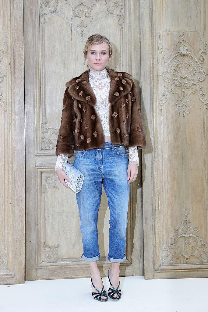 <p>Only Diane is capable of pulling off fur, lace, denim and velvet all in one look. <i>(Photo by Vittorio Zunino Celotto/Getty Images)<br></i></p>