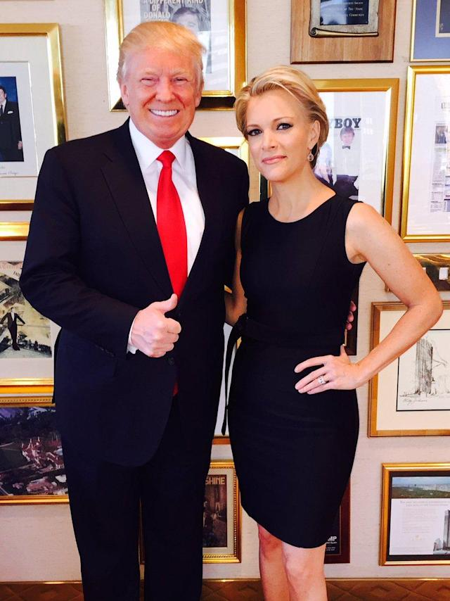 """<p>Donald Trump tweeted, """"I will be live tweeting my interview with @megynkelly on the Fox Network tonight at 8! Enjoy!"""" and posted a photo posing with Megyn Kelly in his office in Trump Tower on May 17, 2016, in New York City. His <em>Playboy</em> cover is visible on the wall behind them. (Donald Trump via Twitter) </p>"""