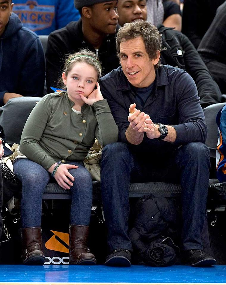 "It was fun for <i>almost</i> the whole family when Ben Stiller and Christine Taylor took their kids, Ella and Quinlin, to see the New York Knicks play the Philadelphia 76ers Sunday night. No matter how hard her dad tried to get her into the game, Ella, 8, looked like she'd rather be anywhere but sitting courtside with her mom and dad! Anthony J. Causi/<a href=""http://www.splashnewsonline.com"" target=""new"">Splash News</a> - February 6, 2011"
