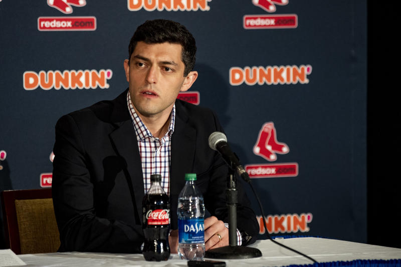 BOSTON, MA - JANUARY 15: Chief Baseball Officer Chaim Bloom of the Boston Red Sox addresses the media during a press conference addressing the departure of manager Alex Cora on January 15, 2020 at Fenway Park in Boston, Massachusetts. (Photo by Billie Weiss/Boston Red Sox/Getty Images)