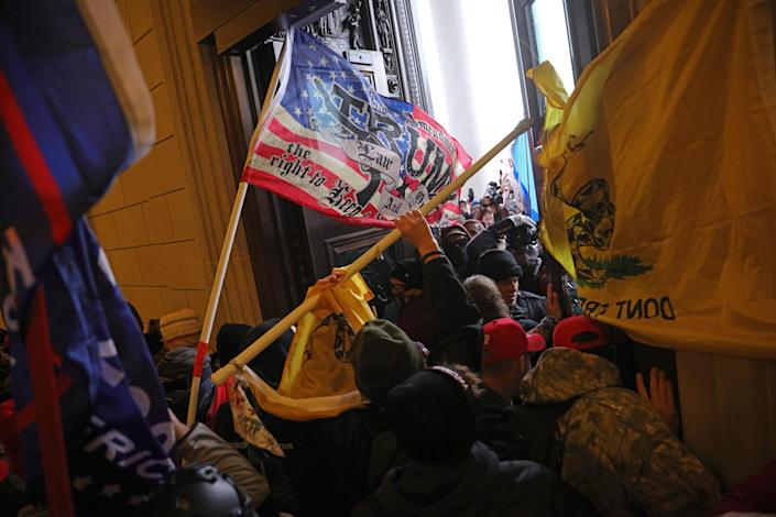 """Protesters break into the U.S. Capitol on Jan. 06, 2021 in Washington, D.C.<span class=""""copyright"""">Win McNamee—Getty Images</span>"""