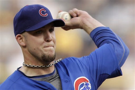 Chicago Cubs pitcher Paul Maholm throws in the first inning of a baseball game against the Pittsburgh Pirates in Pittsburgh, Saturday, May 26, 2012. (AP Photo/Gene J. Puskar)