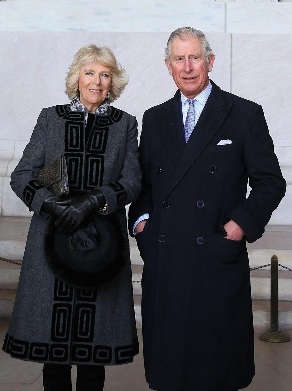 <p>On a visit to the U.S., Camilla posed with Prince Charles in front of the Lincoln Memorial in Washington, DC wearing this geometric patterned charcoal and black coat. </p>