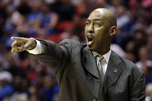 Tulsa head coach Danny Manning gestures as his team plays UCLA during the second half of a second-round game in the NCAA college basketball tournament Friday, March 21, 2014, in San Diego. (AP Photo/Lenny Ignelzi)