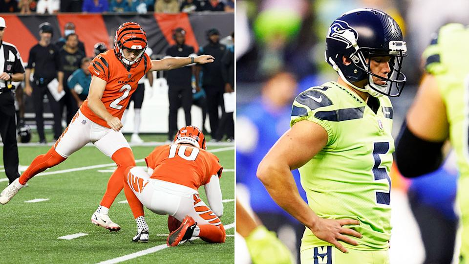 Pictured left, Bengals kicker Evan McPherson and Seahawks' player Jason Myers on the right.