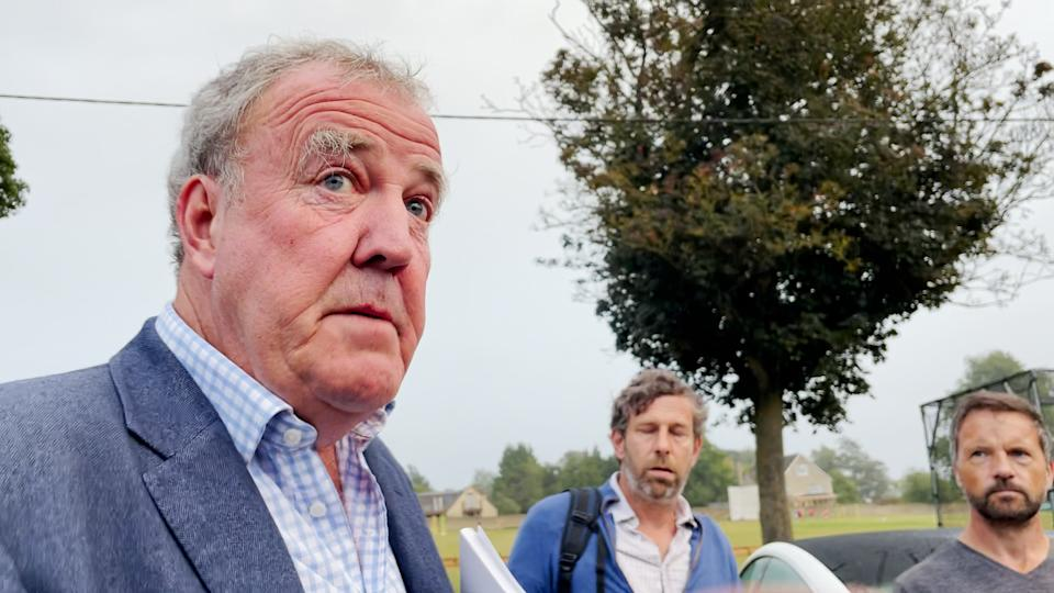 Jeremy Clarkson at the Memorial Hall in Chadlington, where he held a showdown meeting with local residents over concerns about his Oxfordshire farm shop. Picture date: Thursday September 9, 2021. (Photo by PA Video/PA Images via Getty Images)