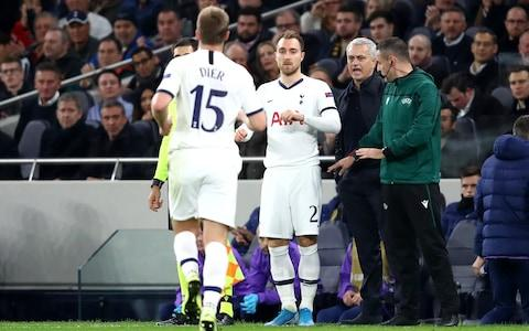 Christian Eriksen of Tottenham Hotspur is substituted on for Eric Dier of Tottenham Hotspur during the UEFA Champions League group B match between Tottenham Hotspur and Olympiacos - Credit: GETTY IMAGES