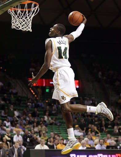 Baylor guard Deuce Bello (14) dunks against Bethune-Cookman during the second half of an NCAA college basketball game, Wednesday, Dec. 14, 2011, in Waco, Texas. Baylor won 69-42. (AP Photo/Tony Gutierrez)