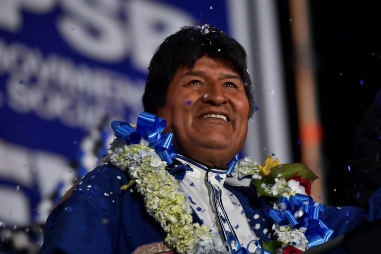 Bolivian President Evo Morales, pictured October 19, 2019, before his disputed re-election set off a wave of unrest and ultimately his resignation