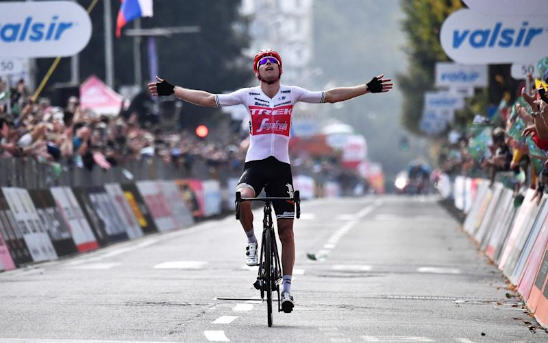 Bauke Mollema celebrates as he crosses the finish line to win the 113th edition of one-day Classic