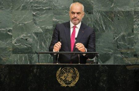 FILE PHOTO - Albanian Prime Minister Edi Rama addresses the 72nd United Nations General Assembly at U.N. headquarters in New York, U.S., September 22, 2017. REUTERS/Lucas Jackson