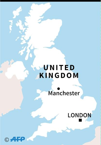 Map of the UK locating the Manchester knife attack (AFP Photo/JORGE MARTÍNEZ)