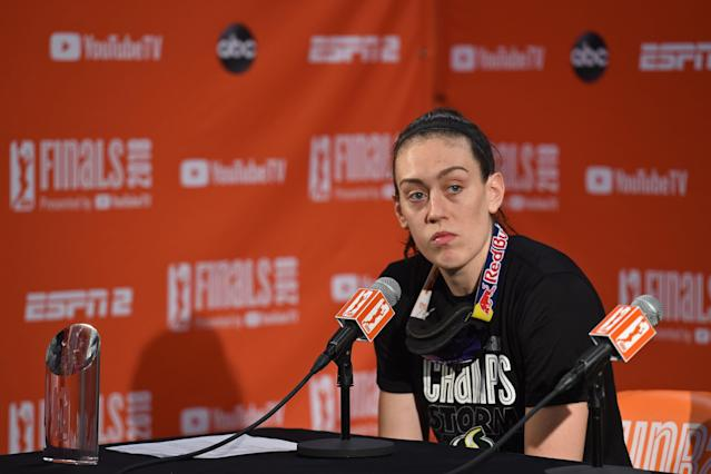 "<a class=""link rapid-noclick-resp"" href=""/wnba/players/5625/"" data-ylk=""slk:Breanna Stewart"">Breanna Stewart</a> is calling out the NCAA for differentiating how it references the men's game and women's in social media posts. (Photo by Rich Kessler/NBAE via Getty Images)"