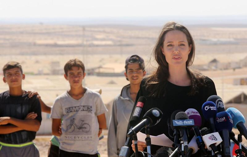 Angelina recently visited Jordan as part of work as UNHCR Special Envoy. Source: Getty