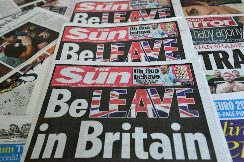 """Britain's top-selling newspaper The Sun urged its readers to back Brexit with a front page that read """"BeLEAVE in Britain"""""""