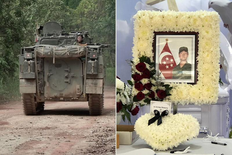 The accident on 3 November 2018 involved a Bionix Infantry Fighting Vehicle (left) and a Land Rover driven by 22-year-old NSF Liu Kai (right). (PHOTOS: Mindef / Yahoo News Singapore)