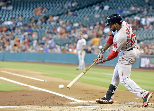 Boston Red Sox's Jackie Bradley Jr. hits into a double play with the bases loaded to end the top of the first inning against the Houston Astros in a baseball game Sunday, July 13, 2014, in Houston. (AP Photo/Pat Sullivan)