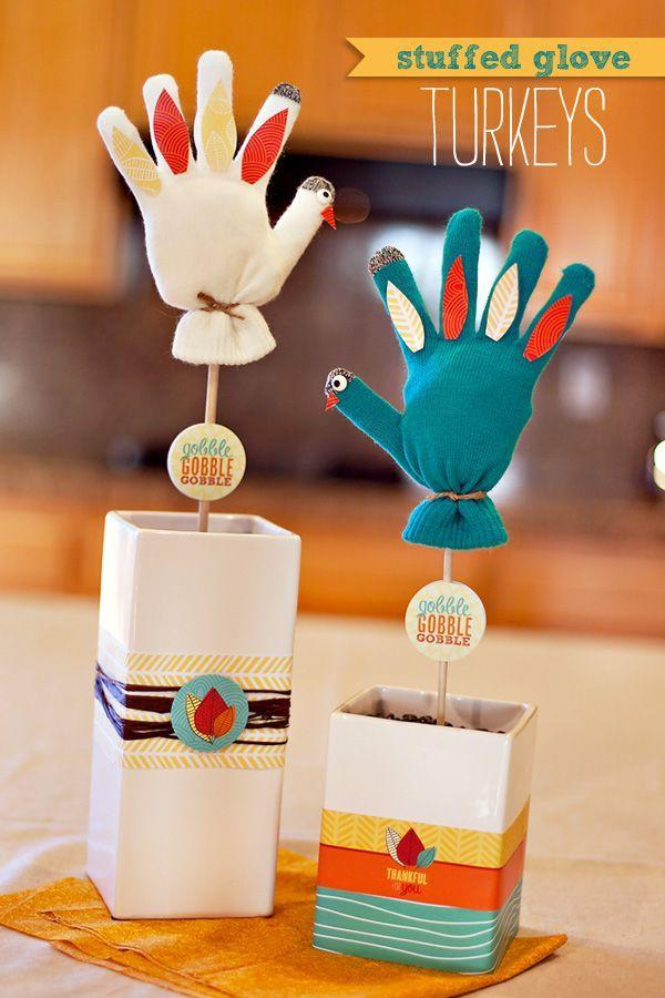 """<p>Transform your old winter gloves into turkey props for a post-meal puppet show. Challenge each other to come up with new stories.</p><p><em><a href=""""http://blog.hwtm.com/2012/11/stuffed-mitten-turkeys-kids-craft-decoration/"""" rel=""""nofollow noopener"""" target=""""_blank"""" data-ylk=""""slk:Get the tutorial at Hostess With The Mostess »"""" class=""""link rapid-noclick-resp"""">Get the tutorial at Hostess With The Mostess »</a></em><br></p>"""