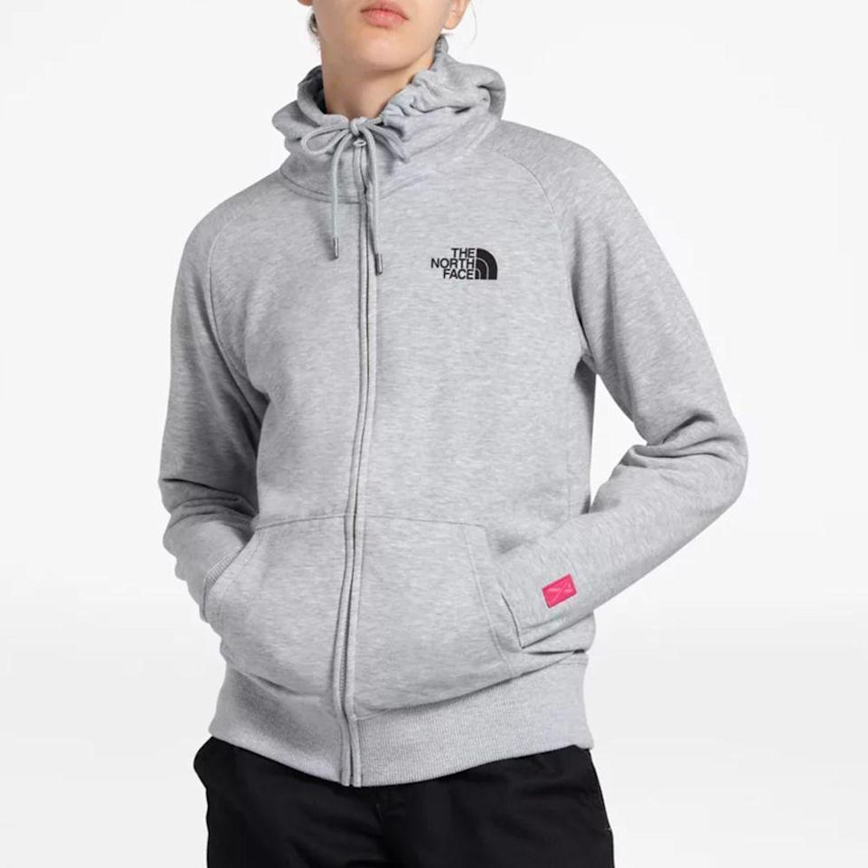 """<p><strong>The North Face</strong></p><p>thenorthface.com</p><p><strong>$55.00</strong></p><p><a href=""""https://go.redirectingat.com?id=74968X1596630&url=https%3A%2F%2Fwww.thenorthface.com%2Fshop%2Fwomens-pink-ribbon-full-zip-hoodie-nf0a4n6z&sref=https%3A%2F%2Fwww.prevention.com%2Flife%2Fg34387434%2Fbreast-cancer-shirts-clothing%2F"""" rel=""""nofollow noopener"""" target=""""_blank"""" data-ylk=""""slk:Shop Now"""" class=""""link rapid-noclick-resp"""">Shop Now</a></p><p>Don't risk going out in the cold without a sweater! This hoodie from The North Face will keep you warm with a cozy, midweight design, plus a string-tied hood, and front pockets to keep your palms from getting nippy. The brand is set to make a yearly donation to both <a href=""""https://b4bc.org/"""" rel=""""nofollow noopener"""" target=""""_blank"""" data-ylk=""""slk:Boarding for Breast Cancer"""" class=""""link rapid-noclick-resp"""">Boarding for Breast Cancer</a> and <a href=""""https://www.bcpp.org/"""" rel=""""nofollow noopener"""" target=""""_blank"""" data-ylk=""""slk:Breast Cancer Prevention Partners"""" class=""""link rapid-noclick-resp"""">Breast Cancer Prevention Partners</a>. </p>"""