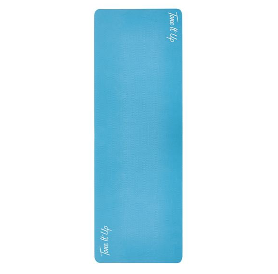 """<p><strong>Tone It Up</strong></p><p>toneitup.com</p><p><strong>$39.99</strong></p><p><a href=""""https://my.toneitup.com/products/yoga-mat-1"""" rel=""""nofollow noopener"""" target=""""_blank"""" data-ylk=""""slk:Shop Now"""" class=""""link rapid-noclick-resp"""">Shop Now</a></p><p>Not only is this mat available at a far more affordable pricepoint than many others on the market, but it scored well for quality and floor traction. <strong>Testers loved the non-slip grip that performed well from workouts ranging from yoga to high impact movements. </strong>The teal blue color is also a fun way to brighten up your home gym space.</p>"""