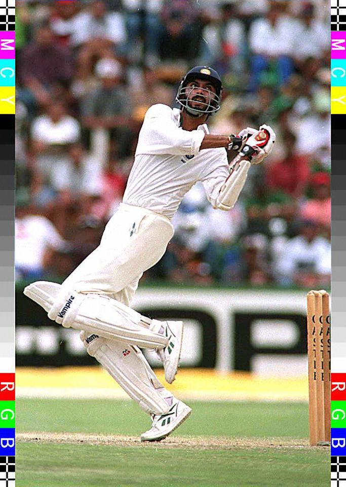 Indian opening batsman Vikram Rathore plays a stroke during the fourth days play in this third test 19 January against South Africa. Rathore was trapped LBW for 44 runs by Alan Donald