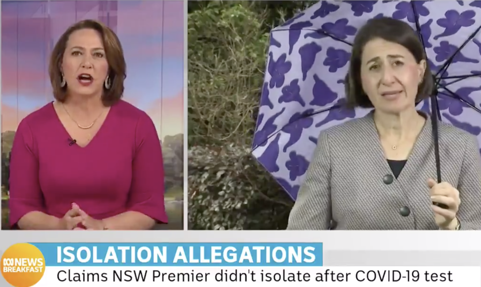 The NSW premier Gladys Berejiklian and ABC breakfast host Lisa Miller.