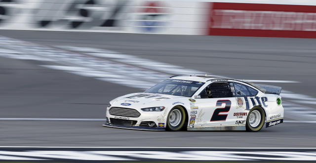 Brad Keselowski drives during qualifying for Sunday's NASCAR Sprint Cup Series auto race, Friday, March 7, 2014, in Las Vegas. (AP Photo/Isaac Brekken)