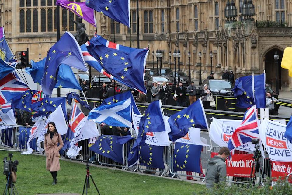Anti-Brexit and pro-Brexit protesters fly flags outside the Houses of Parliament (Picture: PA)