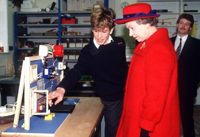 The Queen with her grandson Peter Philips when he was at school. (Getty Images)