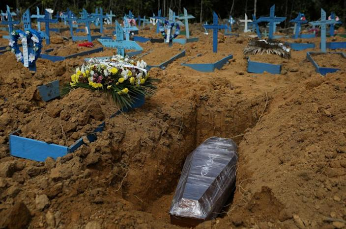 """<span class=""""element-image__caption"""">The Parque Taruma cemetery in Manaus. There have been unfounded claims that coffins were being filled with rocks to inflate Brazil's Covid-19 death toll.</span> <span class=""""element-image__credit"""">Photograph: Bruno Kelly/Reuters</span>"""