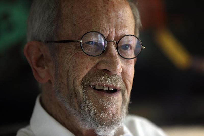 Author Elmore Leonard, 86, smiles during an interview at his Bloomfield Township, Mich., home Monday, Sept. 17, 2012. Leonard says he's thrilled to receive one of the literary world's highest honors, The National Book Foundation's Medal for Distinguished Contribution to American Letters. The crime novelist will be presented with the medal in New York on Nov. 14. (AP Photo/Paul Sancya)