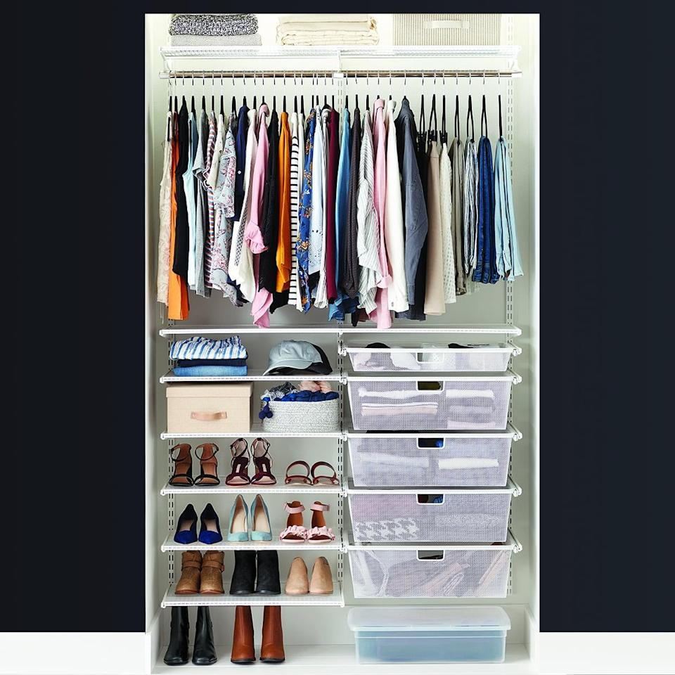 <p>The <span>Elfa Classic 4' Reach-In Closet</span> ($810) from Container Store is a complete system that's good for short-hanging clothes, shoes, and folded items.</p>