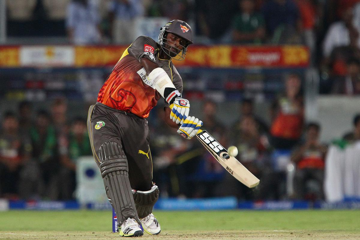 Thisara Perera hits over the top for a six during match 25 of the Pepsi Indian Premier League between The Sunrisers Hyderabad and The Kings XI Punjab held at the Rajiv Gandhi International  Stadium, Hyderabad  on the 19th April 2013. (BCCI)
