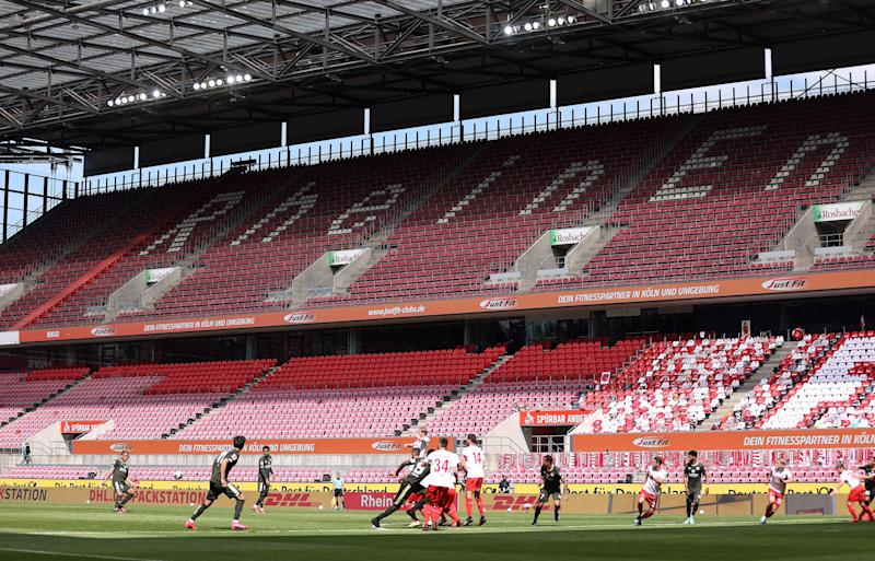 NFL and NBA fans need to get used to seeing games played in empty arenas, as German soccer matches were over the weekend. (Lars Baron/Getty Images)
